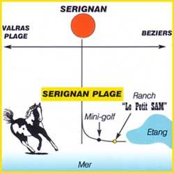 plan du ranch le petit sam situe a serignan plage  proche de beziers dans l'herault 34